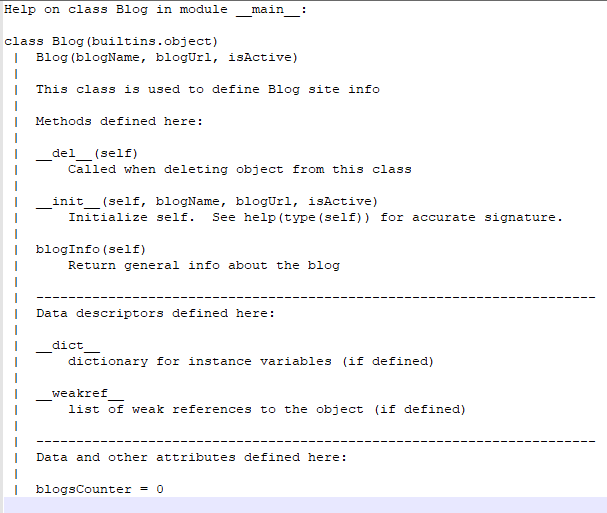 add doc to class definition - python