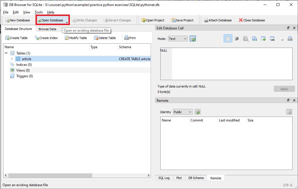 فتح قاعدة بيانات من خلال أداة db browser
