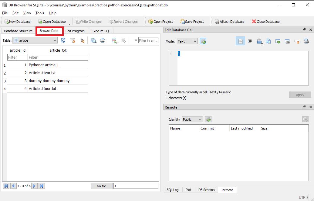 استكشاف البيانات في قاعدة بيانات من خلال أداة db browser