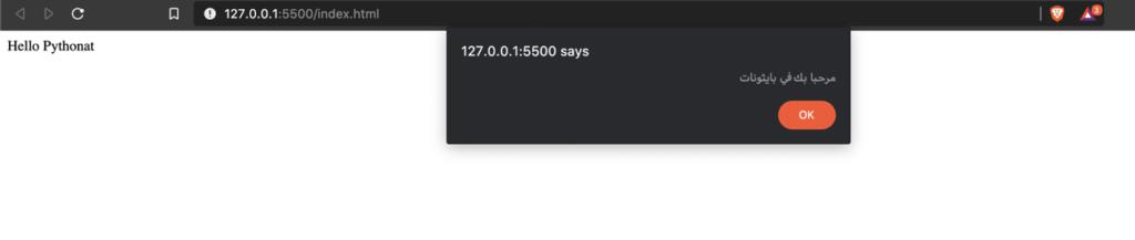 برمجة الويب بالبايثون - إظهار Alert  من خلال brython
